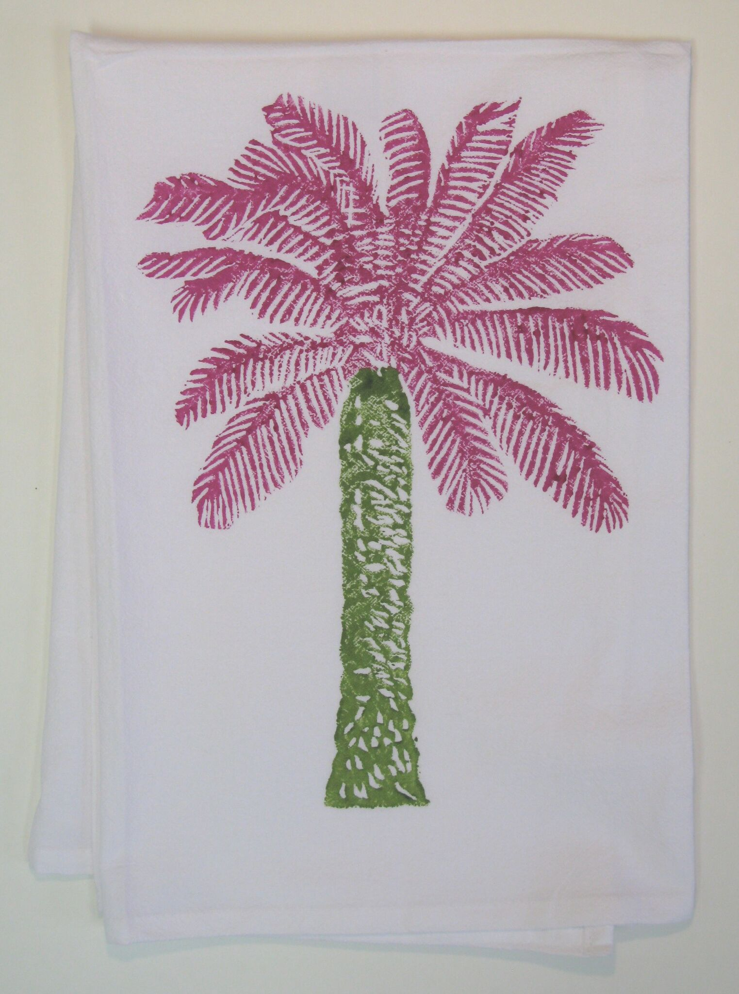 Palm Tree (Pink/Dark Green) on White Flour Sack Towel