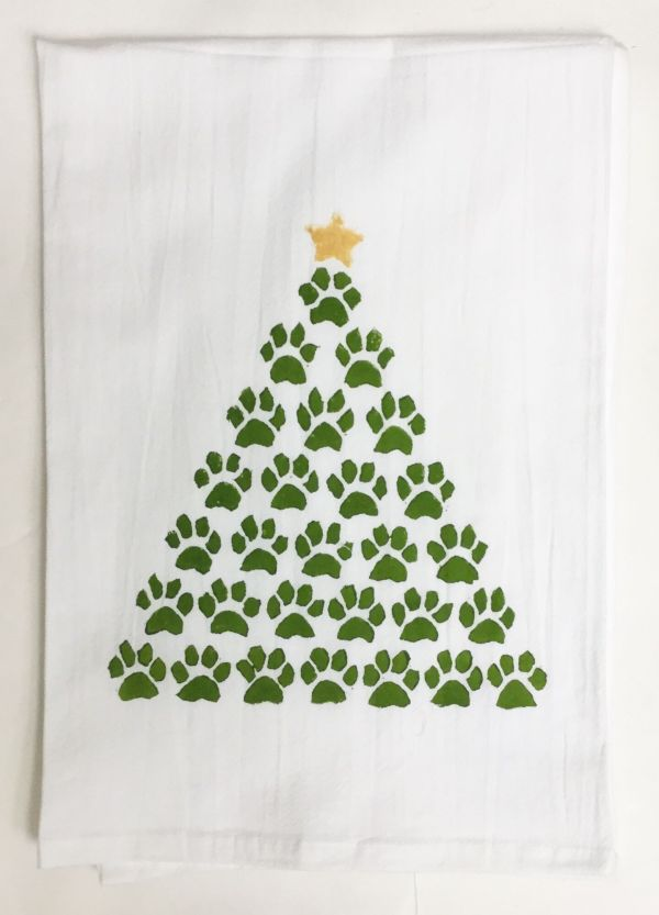 paw tree towel