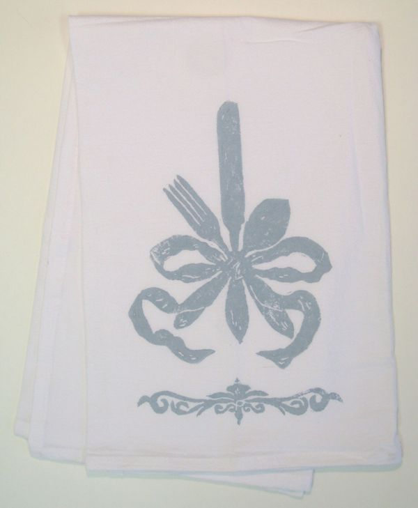 ribbon silverware towel