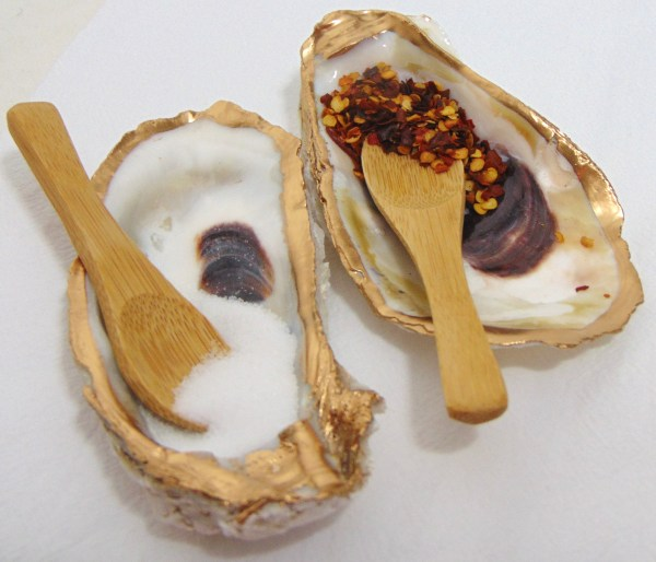 OYSTER SHELL SALT AND PEPPER BOWLS WITH SPOONS