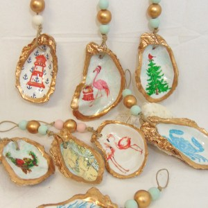 Designer Oyster Shell Ornaments