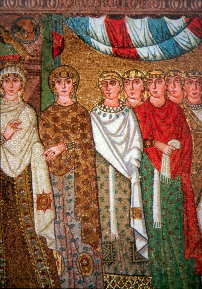Ladies of Theodora's court. This image is a detail of a mosaic at the Basilica of San Vitale (Ravenna)