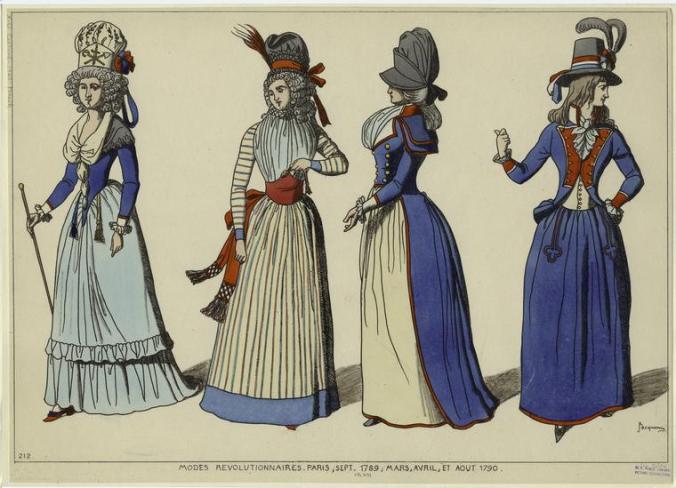 Caption reads: Modes Révolutionnaires Paris. Sept 1789, Mar, Avril et Aout 1790