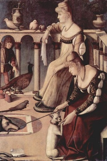 """""""Two Venetian Ladies on a Terrace"""" by Vittore Carpaccio C. 1495. Oil on panel Museo Civico Correr, Venice.ARTstor."""