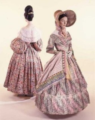 Transition of Romantic gown from 1830s to 1837. Museum of Costume. Quebec, Canada