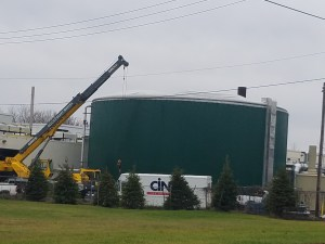 Crews work to shut down the Lowell biodigester in this photo taken on November 28.
