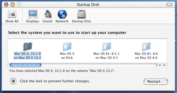 PowerPC 10.2 Startup Disk utility