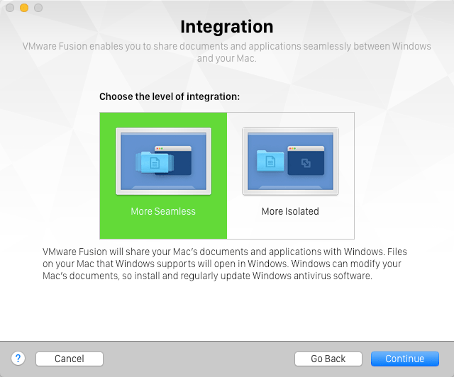Choose how to integrate Mac & Windows desktops in VMware Fusion 8