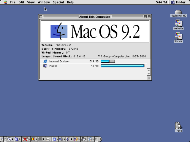Mac OS 9.2 about screen