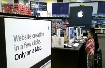 Apple section of a Best Buy store