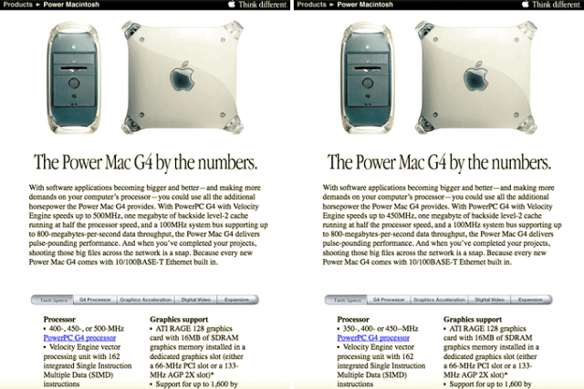 Apple's Power Mac G4 page before and after the speed change