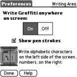 Graffiti preferences in Palm OS