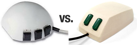 Logitech's first mouse, the P4, had three buttons, while Microsoft's first mouse had two.