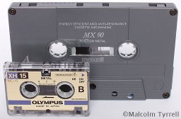 Microcassette and compact cassette copyright Malcolm Tyrrell