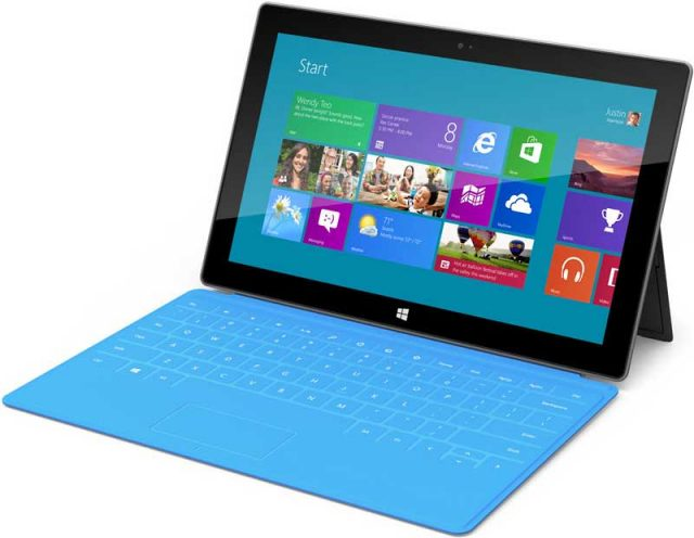 Microsoft's Surface tablet is designed to work with a keyboard.