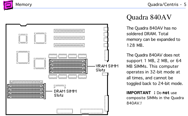 Quadra 840av page from Apple Memory Guide.