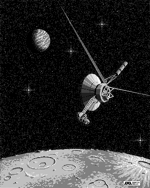 1-bit Voyager 2 image created in MacPaint