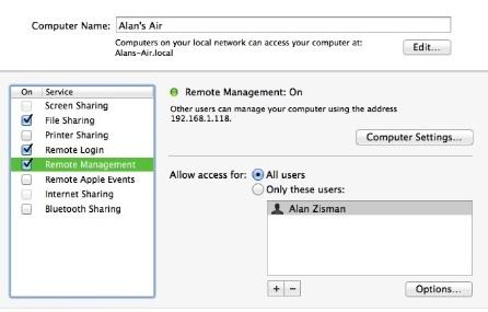 Mac Sharing preference panel