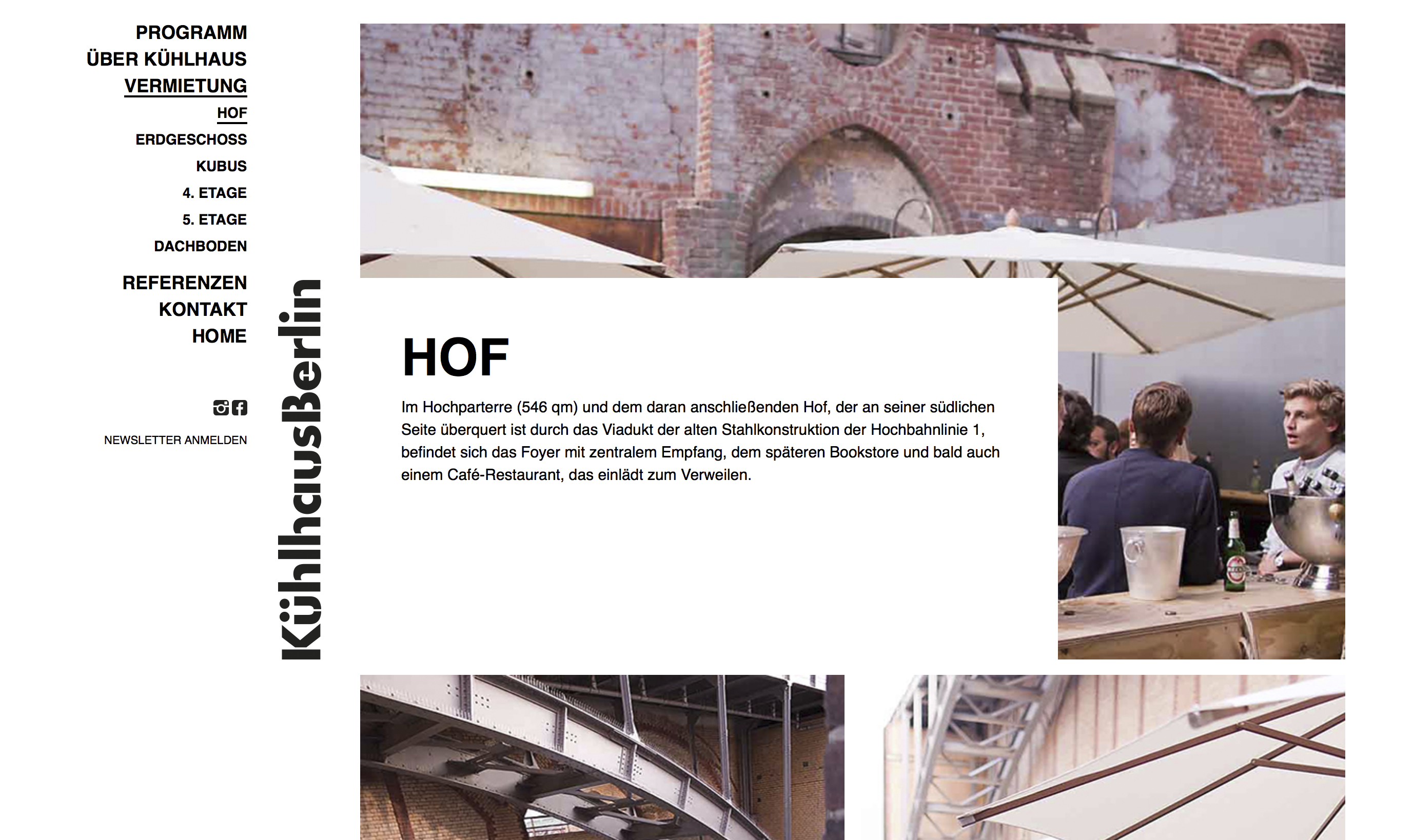 The Kühlhaus Berlin website, design by Lower East