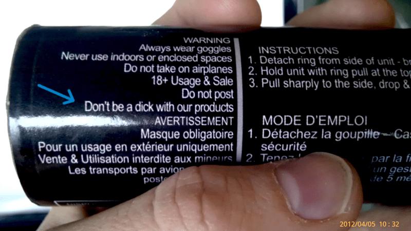 smoke grenade warning