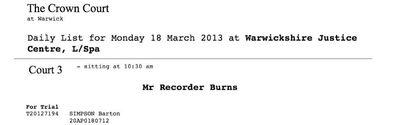 Warwick Crown Court Bart Simpson Mr Burns