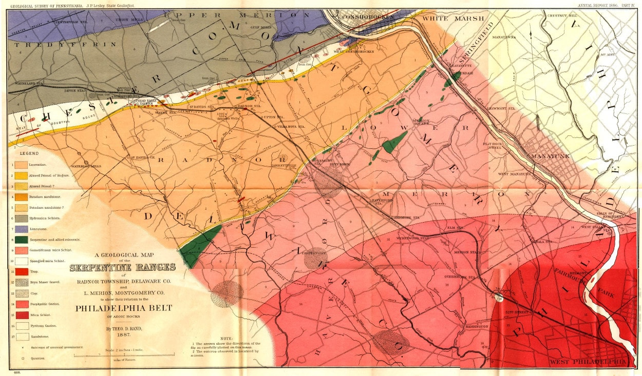 Local Antique Maps   Lower Merion Historical Society A Geological Map of the Serpentine Ranges of Radnor Township  Delaware  County and Lower Merion  Montgomery County to Show Their Relation to the  Philadelphia