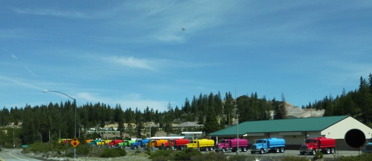 Colorful water trucks at Weed