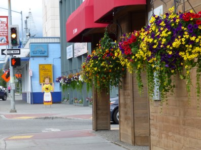 "There were amazing flower arrangements all around the ""old town"" area of Fairbanks."