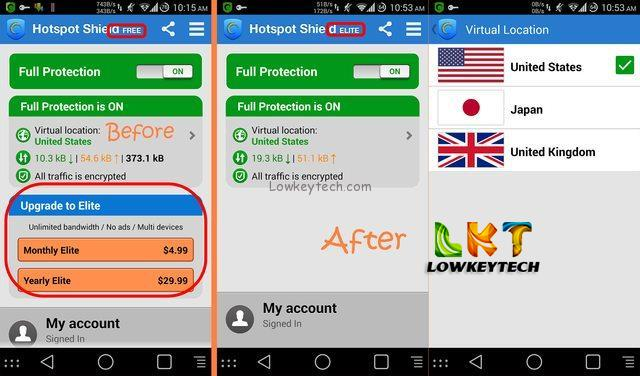 free hotspot shield elite for android