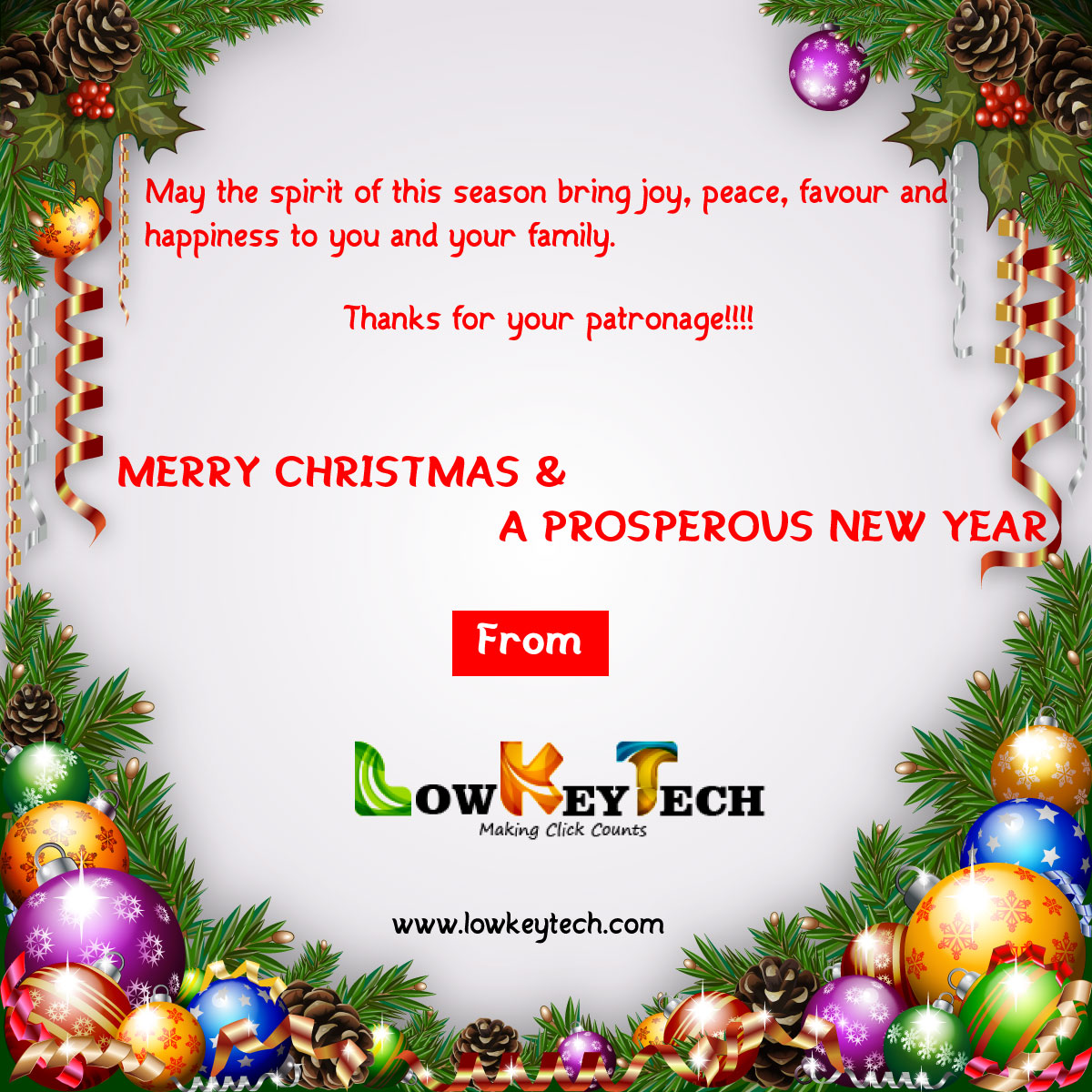 Happy Holidays: Merry Christmas & A Prosperous New Year -