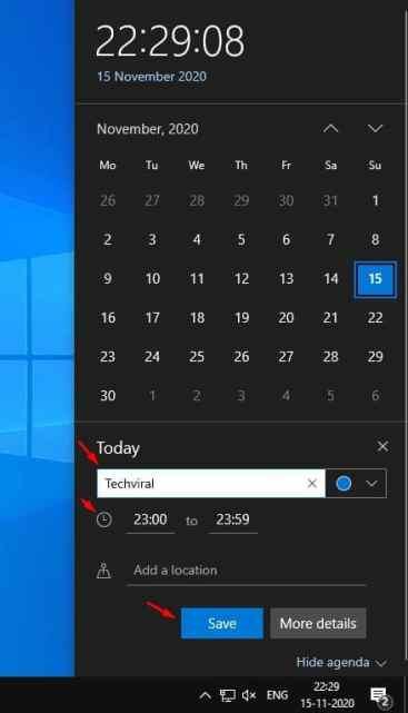 Easily Create Calendar Event