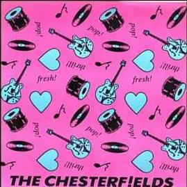 The very pink front cover of a Chesterfields single with instruments and hearts drawn on it in black and white