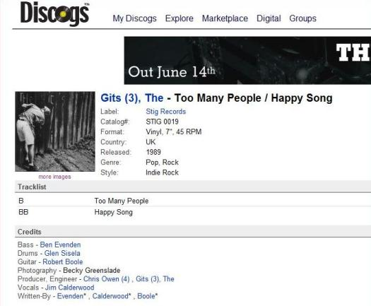 Screen capture of the Discogs page for The Gits single release