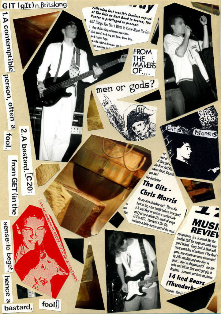 Collage of Gits related photographs and cutting from The Punter magazine from Brighton