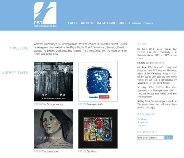 Screen capture of the Firestation Records website which includes a photo and information about the Gits CD release.