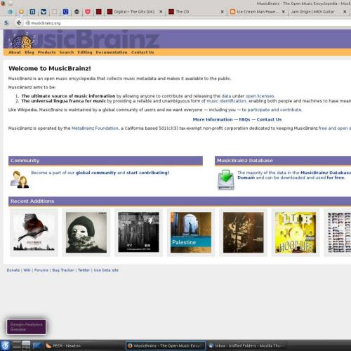 Screenshot of the Musicbrainz webiste showing the Gits CD in the new releases on the front page