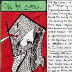 Fold out insert from the cassette demo Old Age Echoes. It's hand written and drawn by Richard with the front rather abstract in conception.
