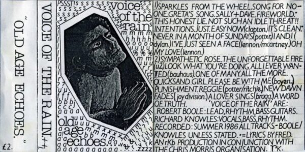 Fold out insert from the cassette version of Old Age Echoes. The front is a drawing of a man with hands held as if in prayer. The text is in the finest Letraset.