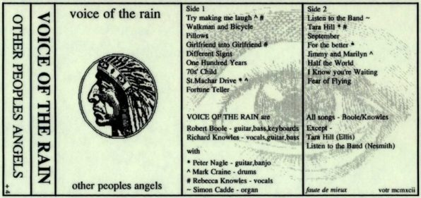 Fold out insert from the cassette version of Other People's Angels. The front is a wood cutting of an American Indian Chief.