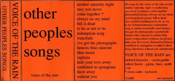 Fold out insert from the cassette version of Other People's Songs. It's just the text of the title and a track list.