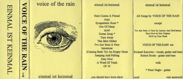 Fold out insert from the cassette version of Einmal Ist Keinmal. The front is a wood cutting of an eye.