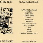 Fold out insert from the cassette version of No Way Out But Through. The front is a drawing of a cafe as seen in a reflection.