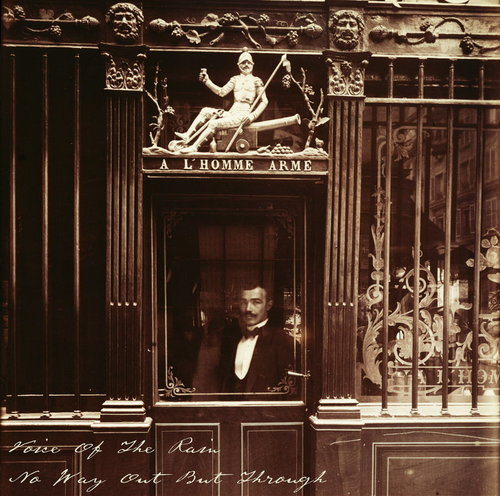 The front cover of No Way Out But Through which is a photograph taken in 1900 by Eugène Atget of a waiter looking out through the window of a closed door leading to a cafe at 25, Rue des Blancs Manteaux.