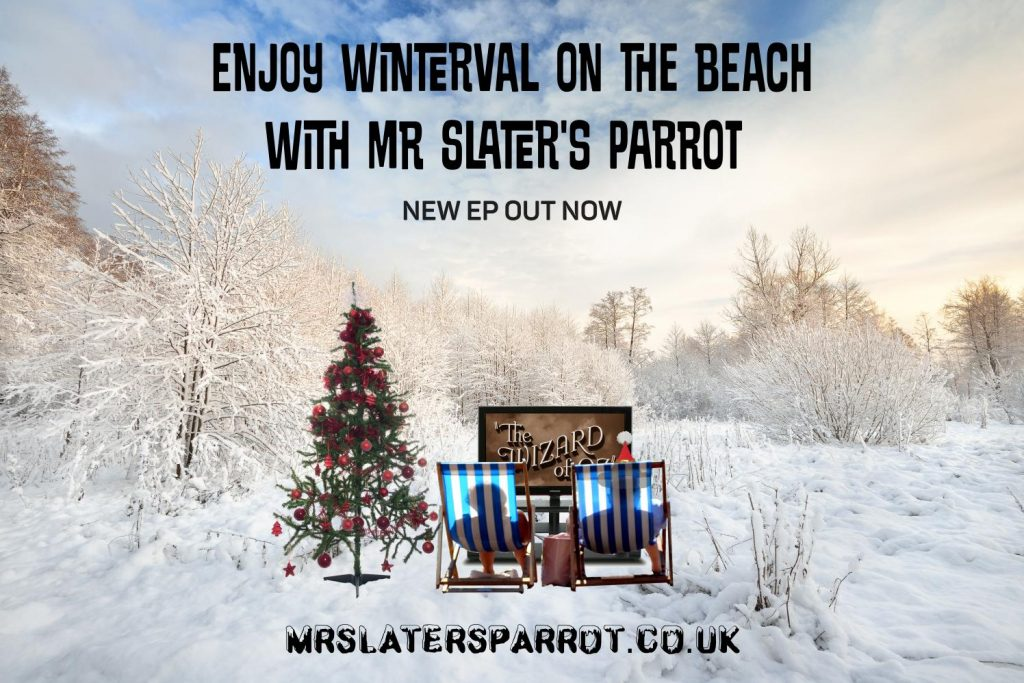 Two people dressed for the beach in deckchairs in a snow tree bordered field watching Wizard Of Oz on television. A bedraggled Christmas tree stands to one side.