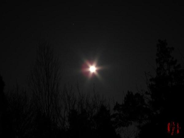 Very bright moon on Vernal Equinox.