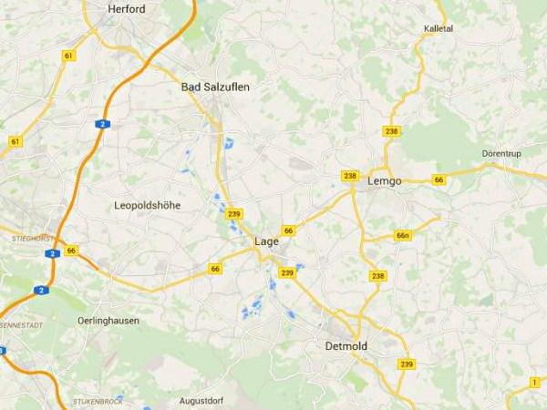 Map of the area around the town of Lage in Germany which happens to be on a road marked '66'.