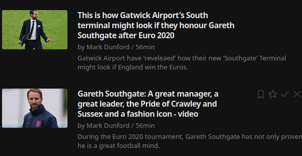 Two local news stories managing to shoe horn in a tenuous link to the England football manager Gareth Southgate who was born nearby in Crawley