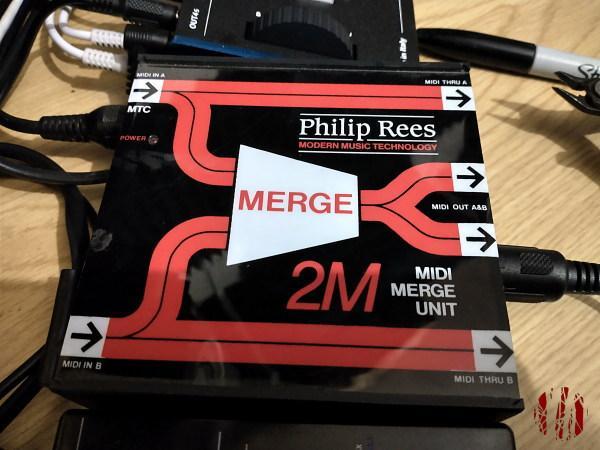 A 1980s vintage Philip Rees MIDI merge unit