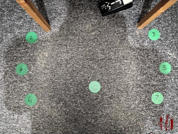 Green numbered floor markers laid out in arcs either side of a central position where I would sit when recording and mixing