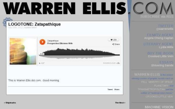 Screen capture from Warren Ellis's website showing my attempted logotone.